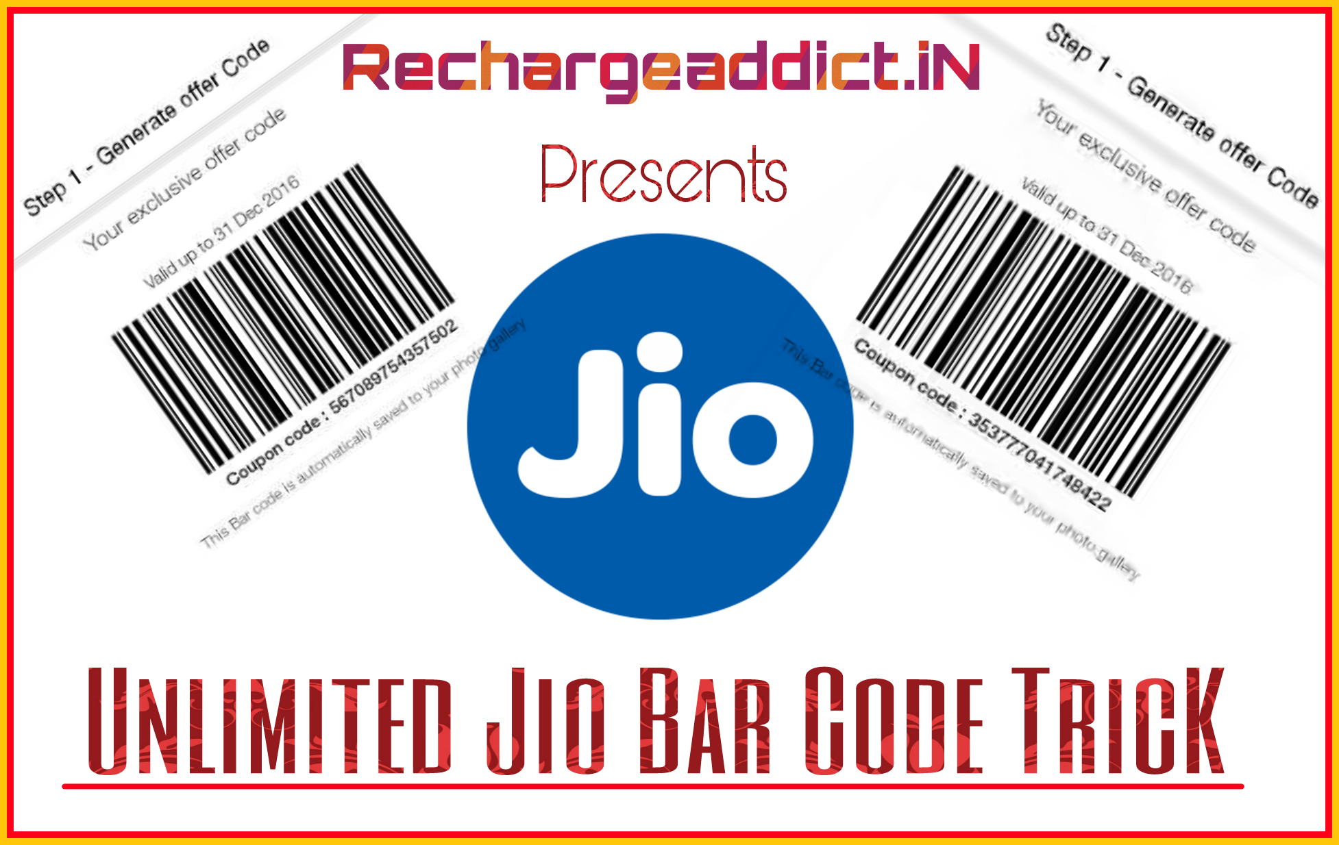 Generate Unlimited Jio Bar Code