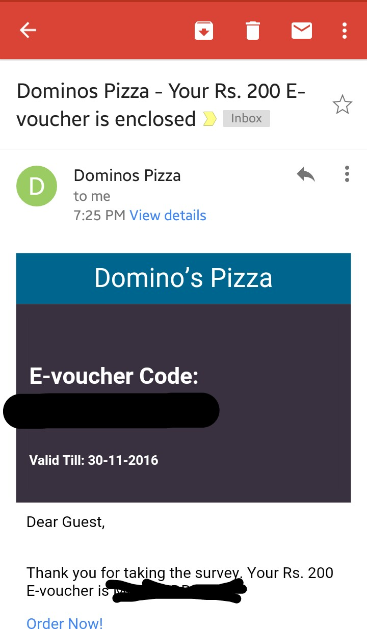 Dominos Free eGift Voucher Code proof