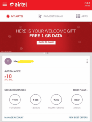 Airtel App Free Internet Offer